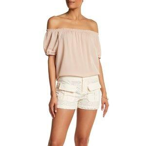 Joie Size 4 Shorts Crochet Knit Lace Cream Pockets